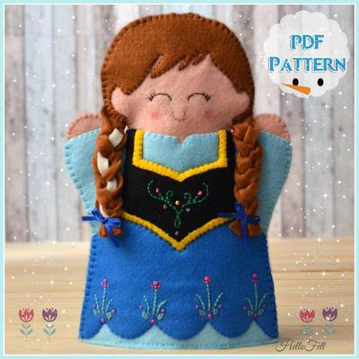 Felt Princess Anna Hand Puppet, Frozen