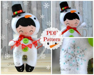 Xmas Little Snowboy, felt pattern