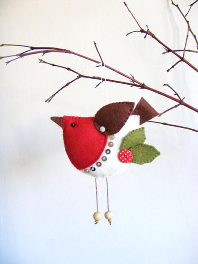 PDF pattern - Christmas tree ornament, easy sewing pattern, bird pattern