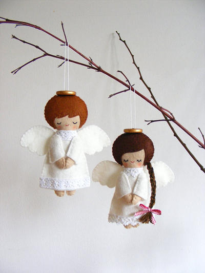 PDF pattern - Christmas tree ornaments, boy and girl angels