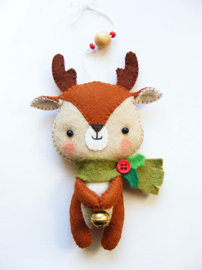 PDF pattern - Cute Little Reindeer - Felt Christmas tree ornament