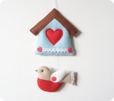 PDF pattern - Felt bird and house ornament