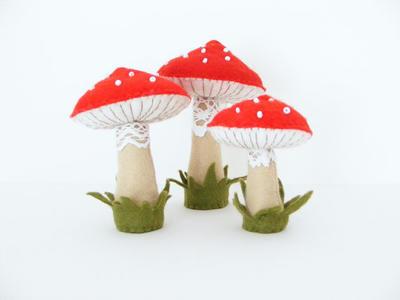 PDF pattern - Felt toadstools