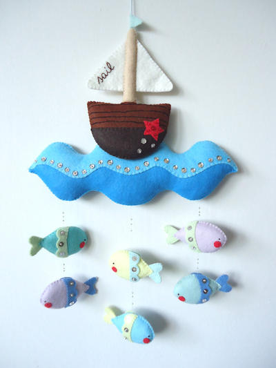 PDF pattern - Nautical mobile. Felt mobile with boat, sea and fishes