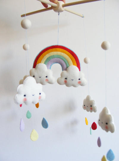 PDF pattern -  Rainbow and clouds baby crib mobile