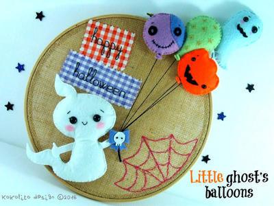 Los globos del pequeño fantasma. Patrón de fieltro