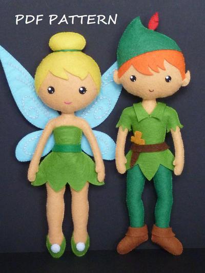 Campanilla y Peter Pan de fieltro. Patrón PDF