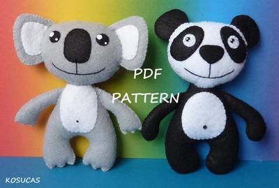 Koala y Oso Panda de Fieltro