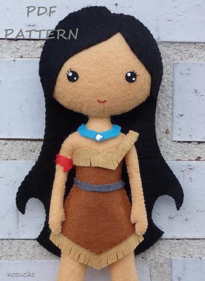 Muñeca Pocahontas. Patrón de Costura/Fieltro