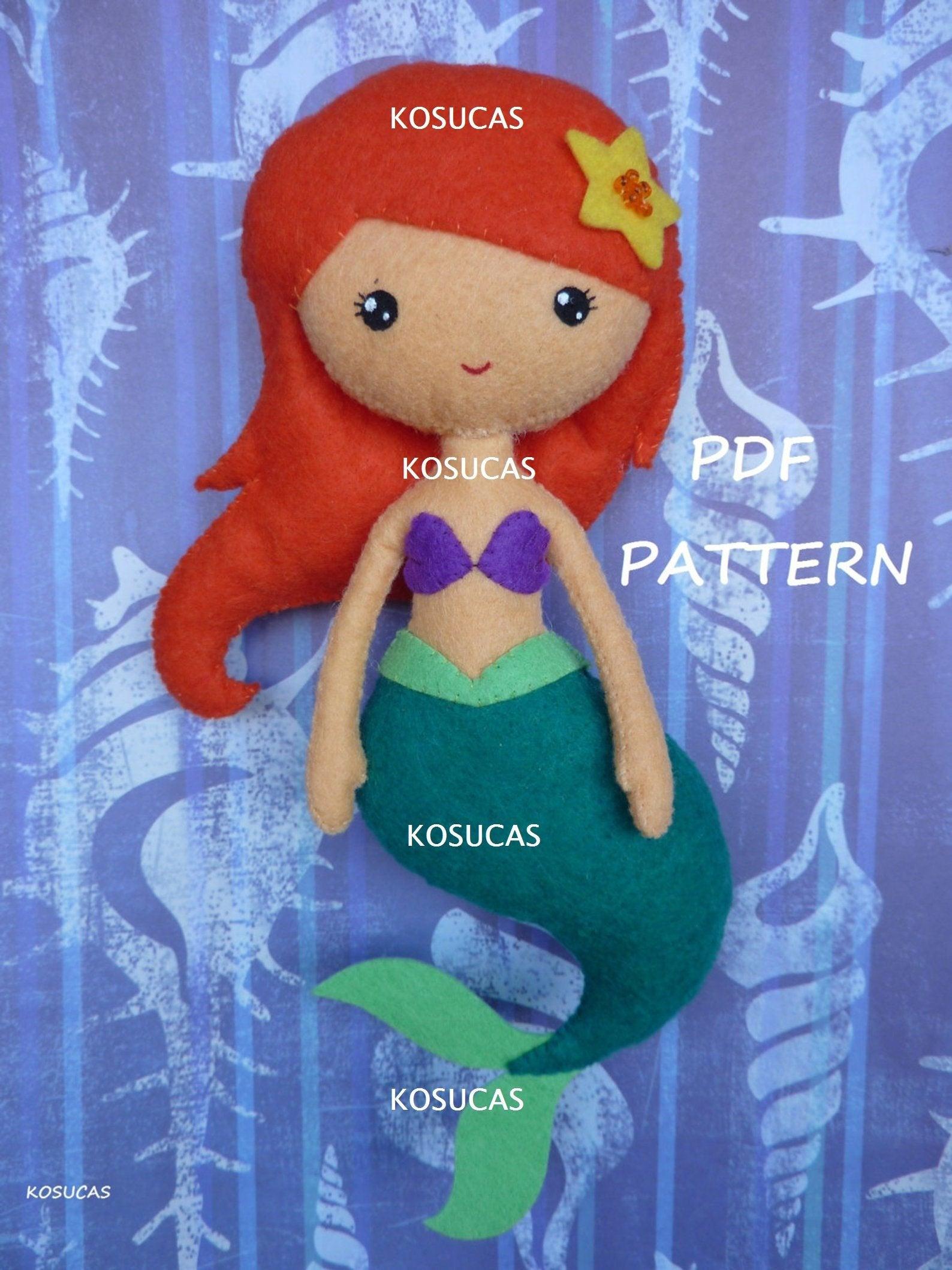 Muñeco de fieltro inspirado en la Sirenita