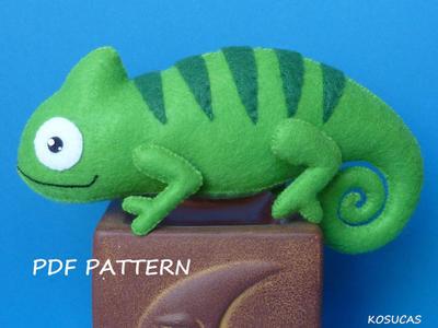 Patrón de costura de PDF para hacer un camaleón de fieltro