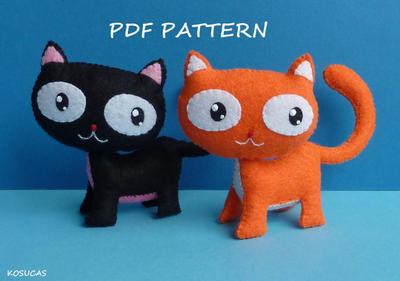 Patrón de costura de PDF para hacer un gatito de fieltro