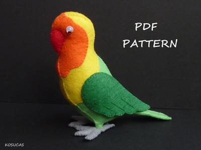 Patrón de costura de PDF para hacer un pájaro de fieltro (Agapornis)