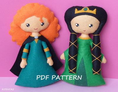 Patrón de costura de PDF para hacer una muñeca de fieltro inspirada en Mérida y su madre Elinor (valiente)