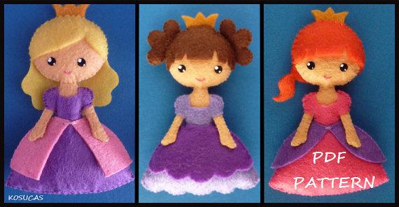 Patrón de costura de PDF para hacer una pequeña princesa de fieltro.