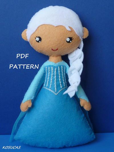 Patrón de costura PDF Elsa de fieltro