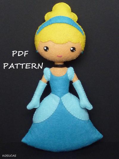 Patrón de costura PDF para Cenicienta de fieltro