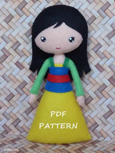 Patrón de costura PDF para hacer muñeca Mulan