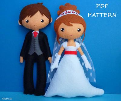 Patrón de costura PDF para hacer una novia y el novio