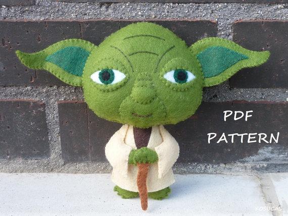 Patrón de PDF para hacer una muñeca de fieltro inspirados en Yoda