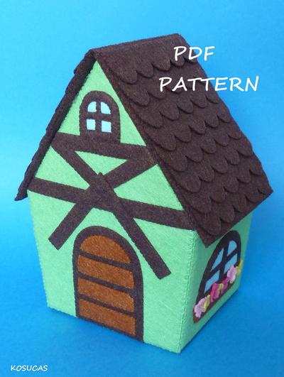 Patrón para hacer una casa de fieltro en PDF