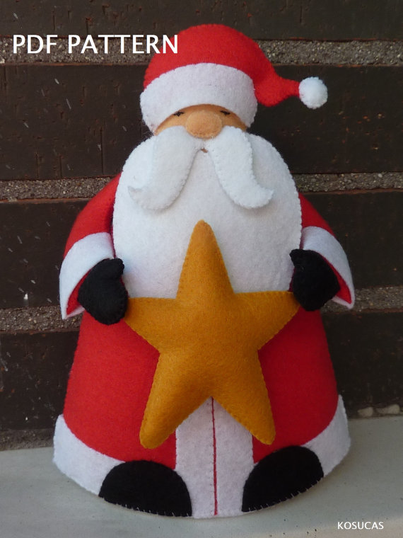 Patrón PDF para hacer un fieltro Papa Noel