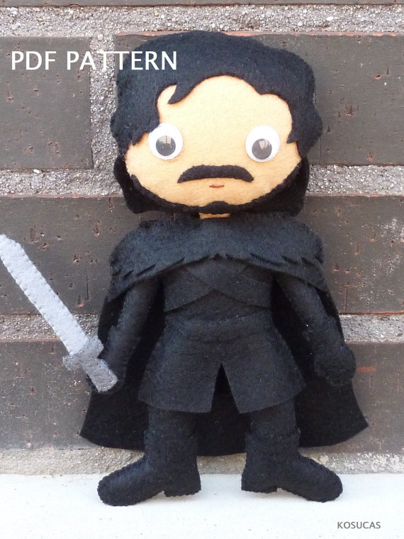 PDF pattern to make a doll inspired in Jon Snow.