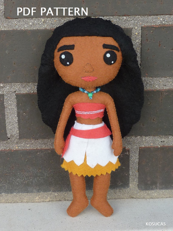 PDF pattern to make a doll inspired in Moana (Vaiana)