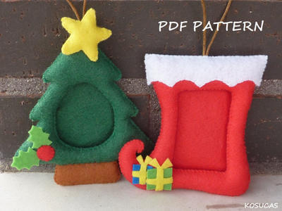 PDF pattern to make a felt Christmas frames