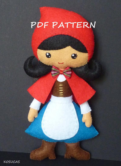 PDF pattern to make a felt doll inspired in little Red Riding Hood