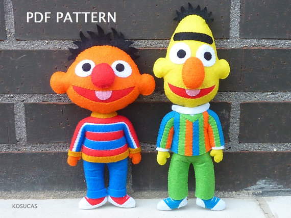 PDF pattern to make a felt Ernie and Bert (Epi y Blas).