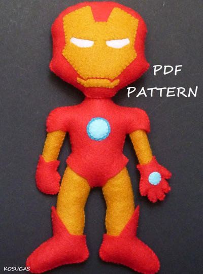 PDF pattern to make a felt Iron Man