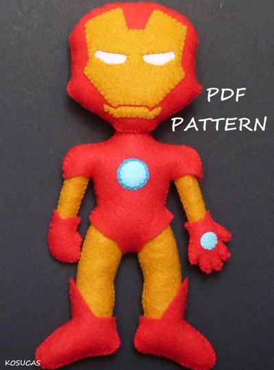 PDF pattern to make a felt Iron Man