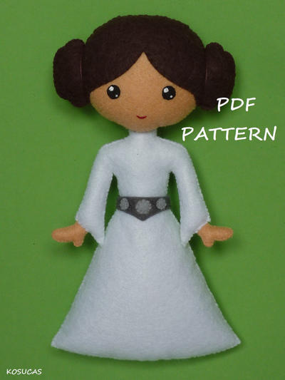PDF pattern to make a felt Princess Leia