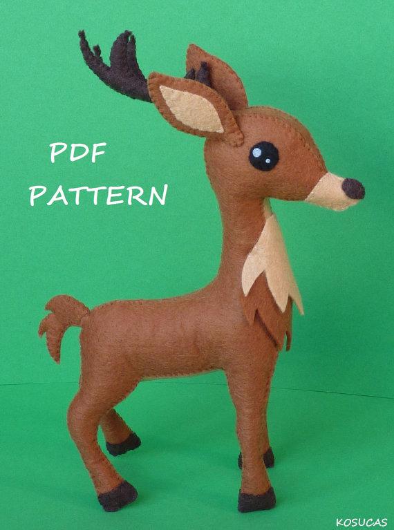 PDF pattern to make a felt reindeer