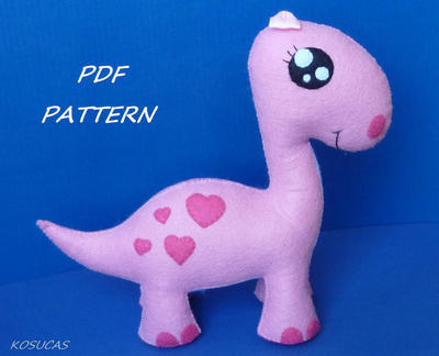 PDF sewing pattern to make a cute dinosaur in felt