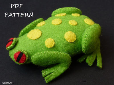 PDF sewing pattern to make a felt frog