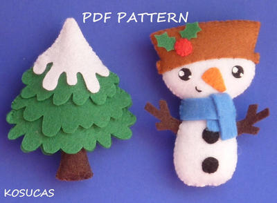 PDF sewing pattern to make a felt Snowman and a tree