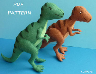PDF sewing pattern to make a felt tyrannosaurus