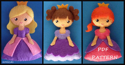 PDF sewing pattern to make a small felt princess