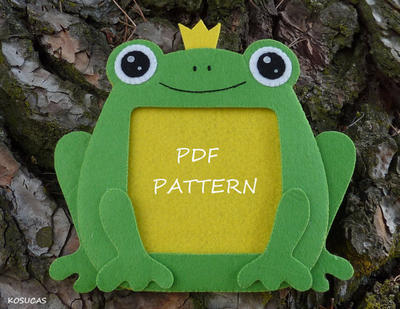 PDF sewing pattern to make felt frog frame