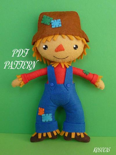 PDF sewing pattern to make felt scarecrow