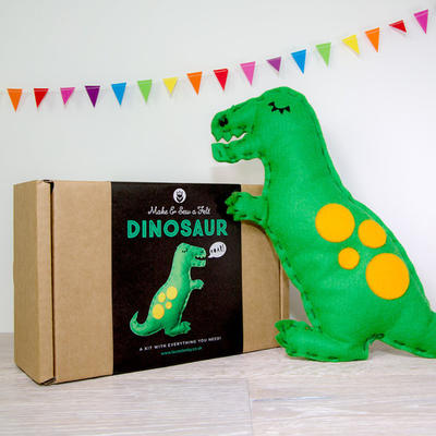 Dinosaur Craft Kit, T-Rex Felt Sewing Kit, Christmas Kids Craft Activity