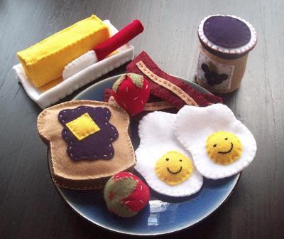 Toast Eggs Felt Food Pattern Breakfast