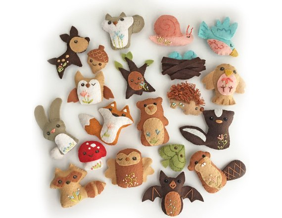 20 piece Woodland Creatures Felt Plush Animals Sewing Patterns