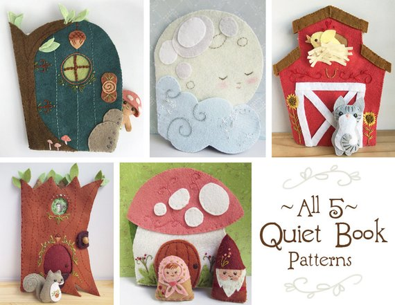 5 Felt Quiet Book PDF Sewing Patterns with Felt Animals and dolls