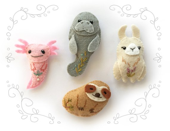Felt Animals PDF Pattern for Unusual Creatures,