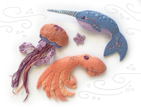 Felt Animals, Sea Creatures. Octopus, Narwhal, Jellyfish