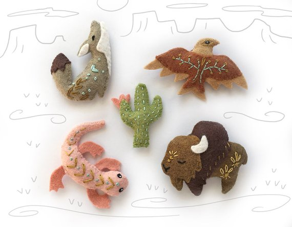 Felt Animals Spirit Creatures for Desert. Cactus, Buffalo, Eagle and Coyote
