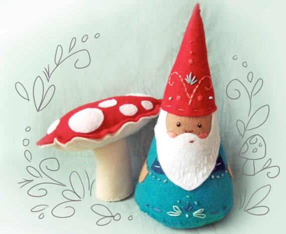 Gnome and Mushroom Plush Sewing Pattern